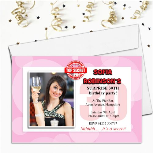 10 Personalised Surprise Secret PHOTO Invitations N62 - Any Age!